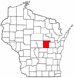 Wisconsin Map showing Waupaca County