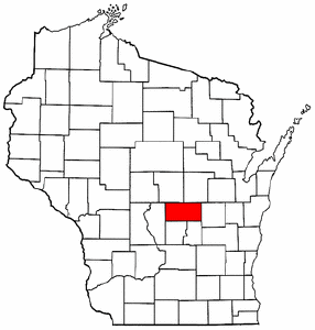 Wisconsin Map showing Waushara County