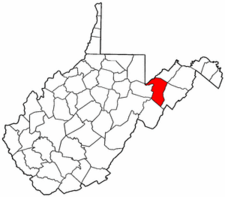West Virginia Map showing Grant County