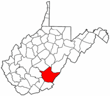 West Virginia Map showing Greenbrier County