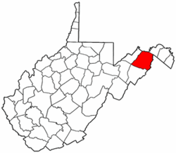 West Virginia Map showing Hampshire County