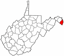 West Virginia Map showing Jefferson County
