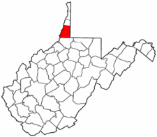 West Virginia Map showing Marshall County