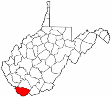 West Virginia Map showing McDowell County