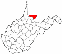 West Virginia Map showing Monongalia County