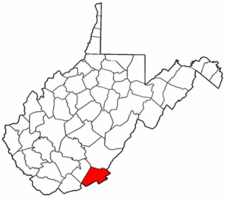 West Virginia Map showing Monroe County