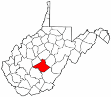 West Virginia Map showing Nicholas County