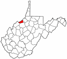 West Virginia Map showing Pleasants County