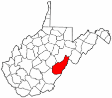 West Virginia Map showing Pocahontas County