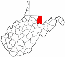 West Virginia Map showing Preston County