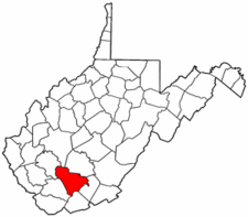 West Virginia Map showing Raleigh County