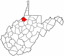 West Virginia Map showing Tyler County