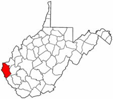 West Virginia Map showing Wayne County