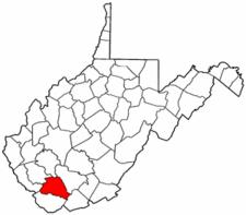 West Virginia Map showing Wyoming County