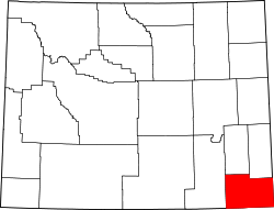 Wyoming Map showing Laramie County