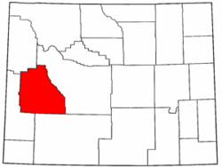 Wyoming Map showing Sublette County