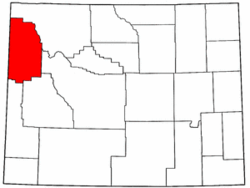 Wyoming Map showing Teton County